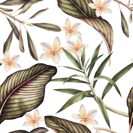 Seamless tropical flower pattern, watercolor. Stok Fotoğraf - 96277846