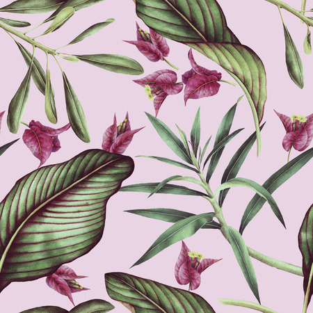 Seamless tropical flower pattern, watercolor. 写真素材 - 96302565