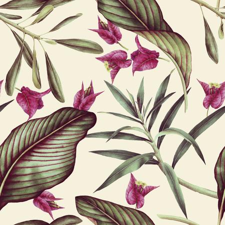 Seamless tropical flower pattern, watercolor. Stok Fotoğraf - 96530407