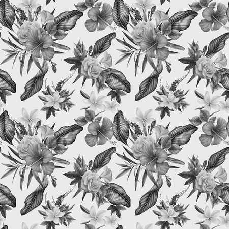 Seamless floral pattern with tropical flowers, watercolor. Stok Fotoğraf - 96277850