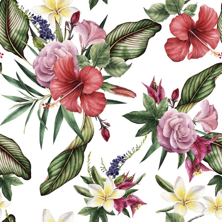 Seamless floral pattern with tropical flowers, watercolor. 写真素材 - 96302568