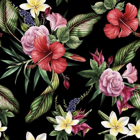 Patrón floral transparente con flores tropicales, acuarela.