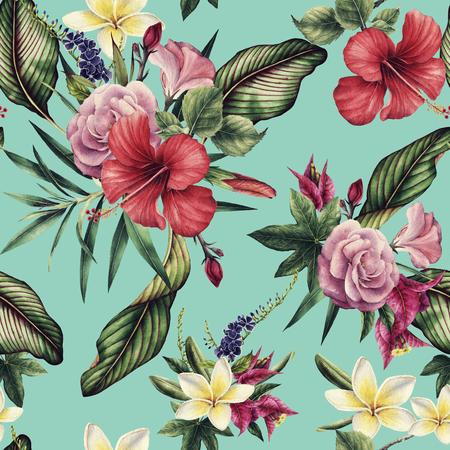 熱帯の花、水彩画とシームレスな花のパターン。