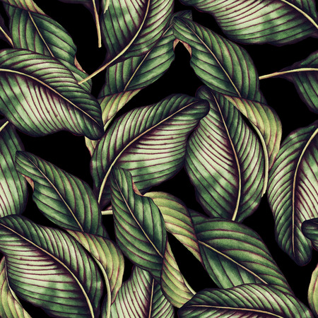 Seamless floral pattern with tropical leaves, watercolor. Stock fotó