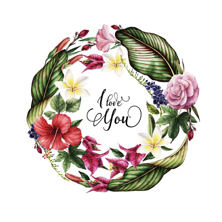 Greeting card with tropical flowers, watercolor, can be used as invitation card for wedding, birthday and other holiday and summer background. Vector illustration.