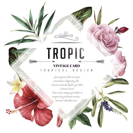 Grußkarte mit tropischen Blumen, Aquarell, kann als Einladungskarte für Hochzeit, Geburtstag und anderen Feiertag und Sommerhintergrund verwendet werden Standard-Bild - 96379328