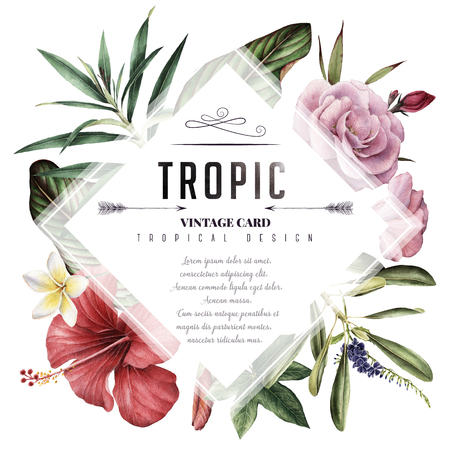 Greeting card with tropical flowers, watercolor, can be used as invitation card for wedding, birthday and other holiday and summer background Stockfoto