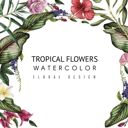 Greeting card with tropical flowers, watercolor, can be used as invitation card for wedding, birthday and other holiday and summer background Foto de archivo - 96333631
