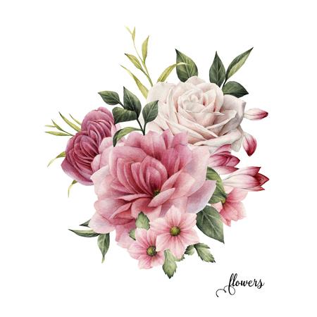 Boeket rozen, aquarel, kan worden gebruikt als wenskaart, uitnodigingskaart voor bruiloft, verjaardag en andere vakantie en zomer achtergrond. Stockfoto