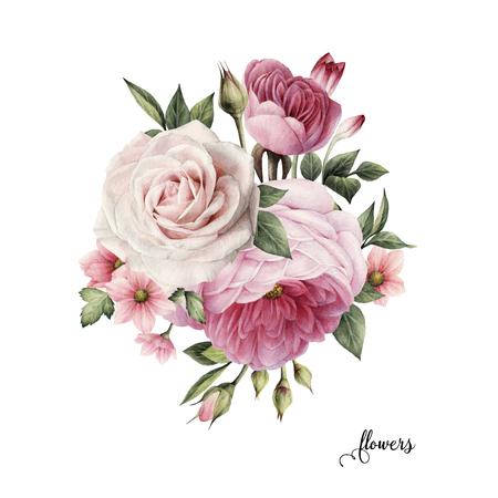 Ramo de rosas, acuarela, se puede utilizar como tarjeta de felicitación, tarjeta de invitación para bodas, cumpleaños y otras vacaciones y verano de fondo.