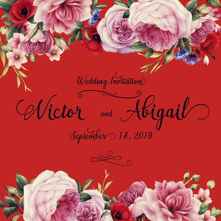 Greeting card with flowers, watercolor, can be used as invitation card for wedding, birthday and other holiday and summer background.