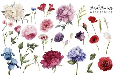 Flores y hojas, acuarela, se pueden utilizar como tarjeta de felicitación, tarjeta de invitación para bodas, cumpleaños y otras fiestas y verano. Foto de archivo