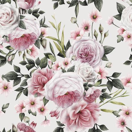 Nahtloses Blumenmuster mit Rosen, Aquarell. Standard-Bild - 96407071