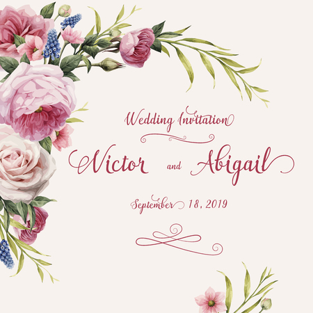 Greeting card with roses, watercolor, can be used as invitation card for wedding, birthday and other holiday and summer background. Vector illustration. Vectores