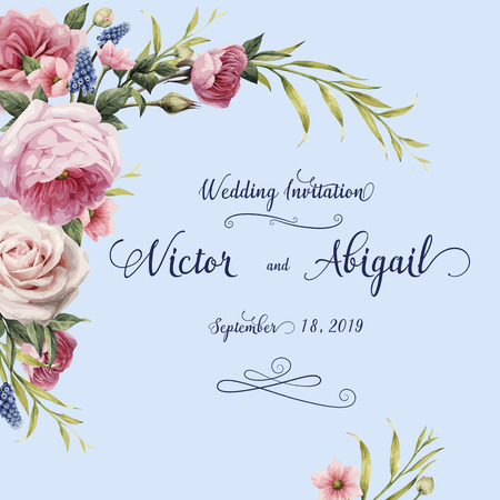 Greeting card with roses, watercolor, can be used as invitation card for wedding, birthday and other holiday and summer background. Vector illustration. Illustration