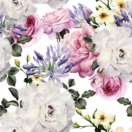 Seamless floral pattern with flowers, watercolor. 写真素材