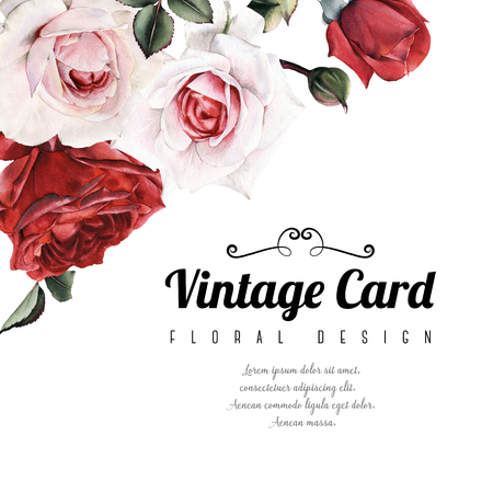 Greeting card with roses, watercolor, can be used as invitation card for wedding, birthday and other holiday and  summer background.  Archivio Fotografico