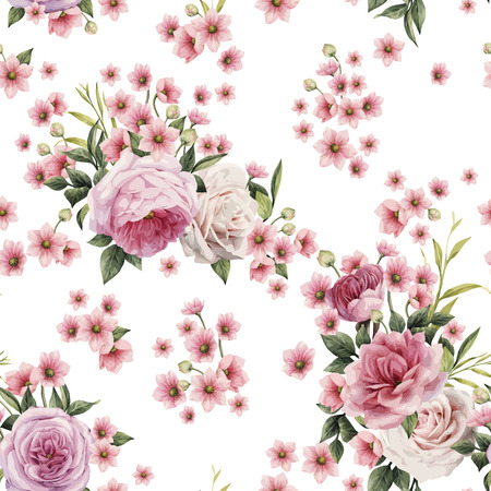 Seamless floral pattern with roses, watercolor. Vector illustration.  免版税图像 - 97121028