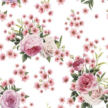 Seamless pattern floreale con rose, acquerello. Illustrazione vettoriale Vettoriali