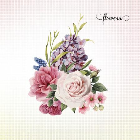バラの花束、水彩画は、グリーティングカード、結婚式のための招待状、誕生日や他の休日や夏の背景として使用することができます。