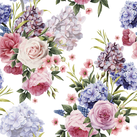 Nahtloses Blumenmuster mit Rosen, Aquarell. Vektor-illustration