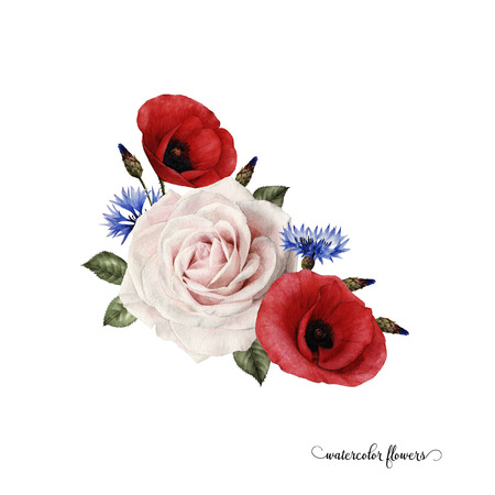 Bouquet of poppys, watercolor, can be used as greeting card, invitation card for wedding, birthday and other holiday and summer background. Stock fotó
