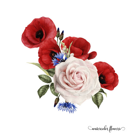 Bouquet of poppys, watercolor, can be used as greeting card, invitation card for wedding, birthday and other holiday and summer background. Zdjęcie Seryjne