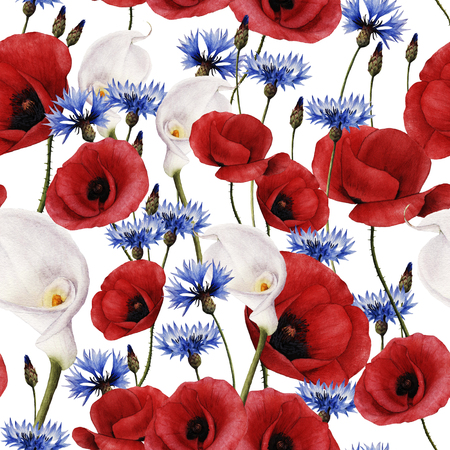 Seamless floral pattern with poppy, watercolor.