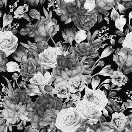 Seamless floral pattern with peonies, watercolor. Stockfoto