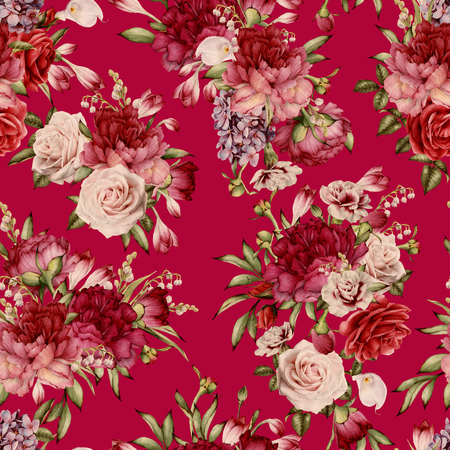 Seamless floral pattern with peonies, watercolor. Banco de Imagens