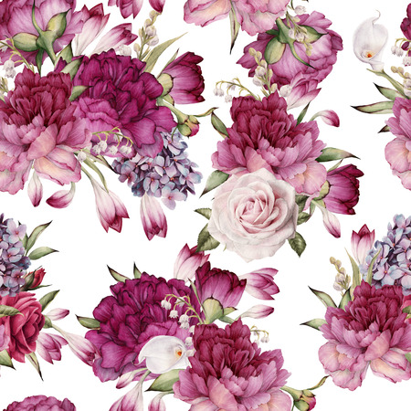 Seamless floral pattern with peonies, watercolor. Imagens