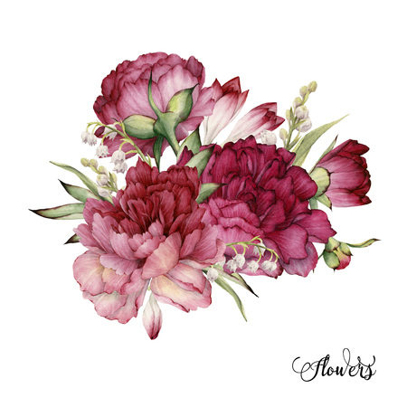 Bouquet of peonies, watercolor, can be used as greeting card, invitation card for wedding, birthday and other holiday and summer background