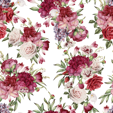 Seamless floral pattern with peonies, watercolor. Stock Photo