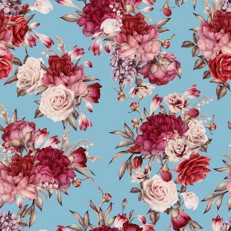 Seamless floral pattern with peonies, watercolor. Standard-Bild