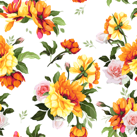 Seamless floral pattern with flowers. Vector illustration.