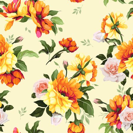 Seamless floral pattern with flowers, watercolor. Vector illustration.