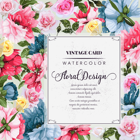 Greeting card with peonies, watercolor, can be used as invitation card for wedding, birthday and other holiday and summer background. Vector illustration.