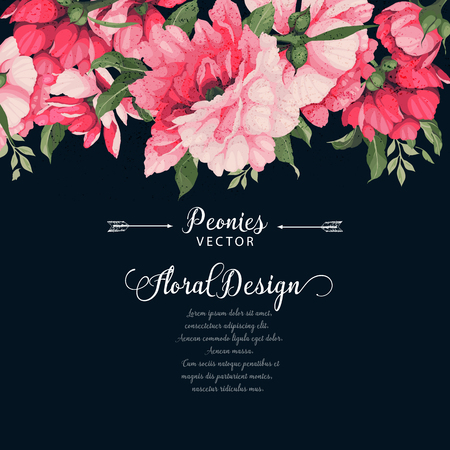 Greeting card with peonies. Vector illustration.