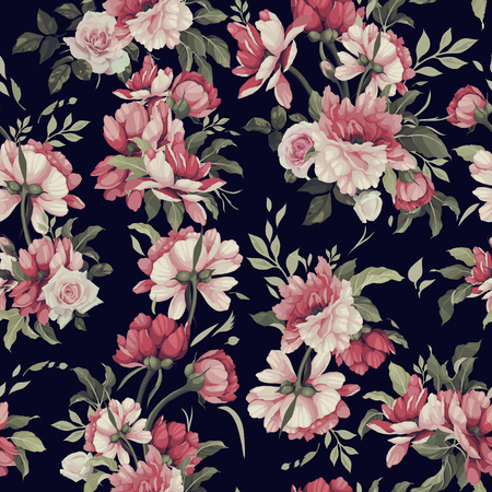 Seamless floral pattern with roses. Vector illustration. Vettoriali