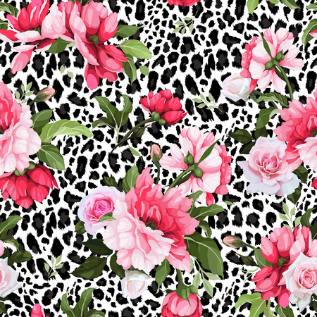 Seamless floral pattern with roses. Vector illustration. Stock Illustratie