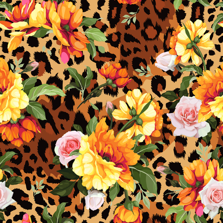 Seamless floral pattern with roses, watercolor. Vector illustration. 일러스트