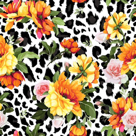 Kwiatowy wzór z różami, akwarela. Ilustracji wektorowych. Ilustracje wektorowe