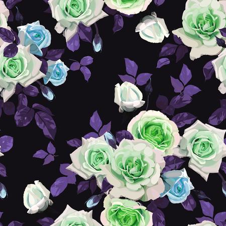 Seamless floral pattern with roses. Vector illustration. Ilustração