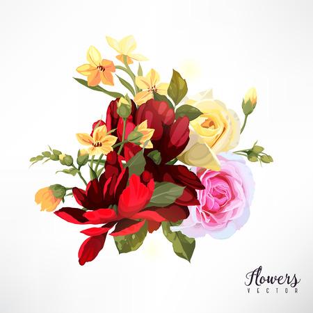 Bouquet of roses. Vector Illustration. Çizim