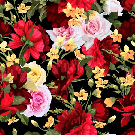 バラ、水彩とシームレスな花柄。ベクターの図。  イラスト・ベクター素材