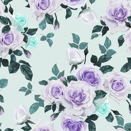 Seamless floral pattern with roses. Vector illustration. 向量圖像