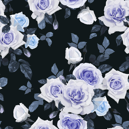 Seamless floral pattern with roses, watercolor. Vector illustration.  イラスト・ベクター素材