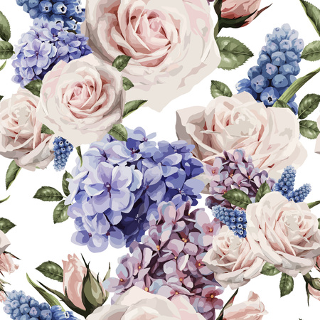 Seamless floral pattern with roses. Vector illustration. 일러스트
