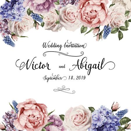 Wenskaart met rozen, kan worden gebruikt als uitnodigingskaart voor bruiloft, verjaardag en andere vakantie en zomer achtergrond. Vector illustratie.
