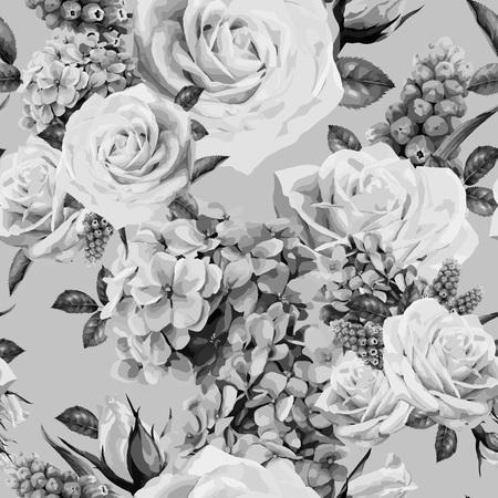 バラとシームレスな花柄。ベクターの図。